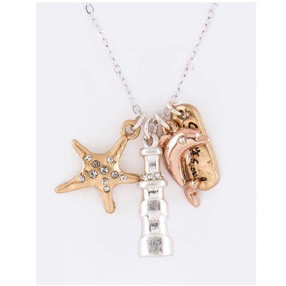 Jewelry - 3 Tone Dolphin Mix Charms Necklace Set